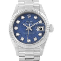 Rolex President Datejust White Gold Sodalite Diamond Ladies Watch 69179