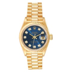 Rolex President Datejust Yellow Gold Blue Diamond Dial Ladies Watch 69178