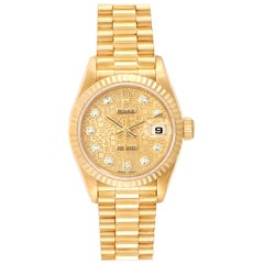 Rolex President Datejust Yellow Gold Diamond Dial Ladies Watch 79178