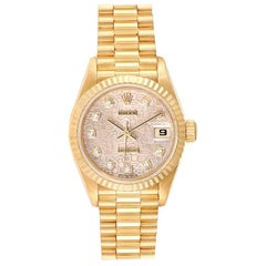Rolex President Datejust Yellow Gold Diamond Dial Ladies Watch 79178 Papers