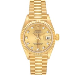 Rolex President Datejust Yellow Gold Diamond Dial Watch 69178 Box Papers