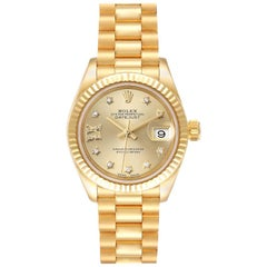 Rolex President Datejust Yellow Gold Diamond Ladies Watch 279178 Box Card