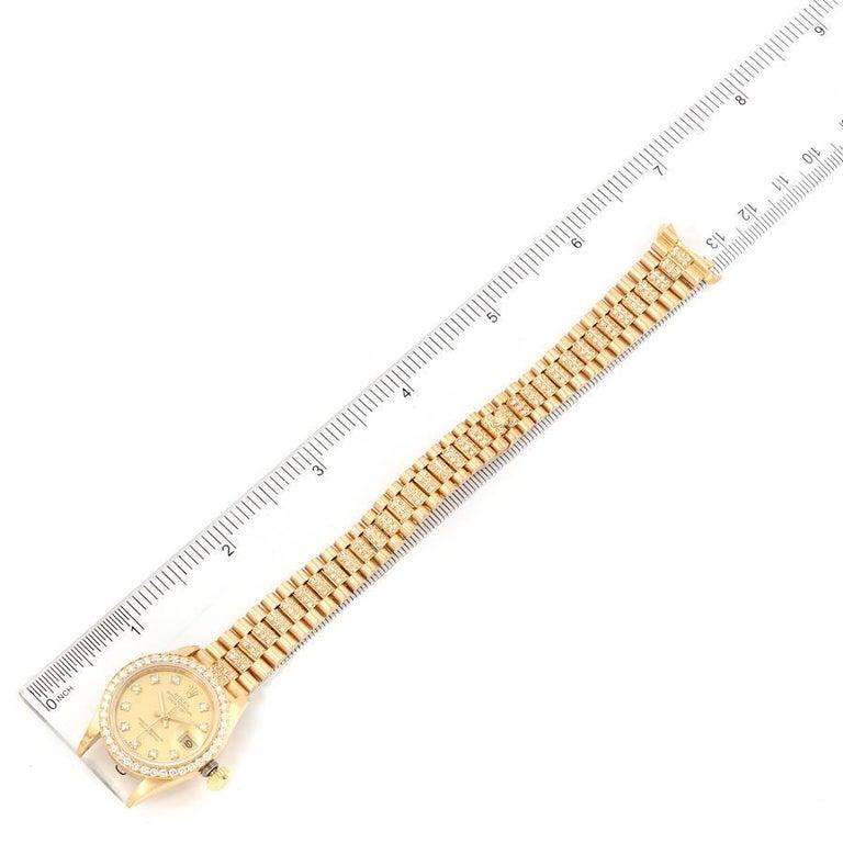 Rolex President Datejust Yellow Gold Diamond Ladies Watch 69138 6