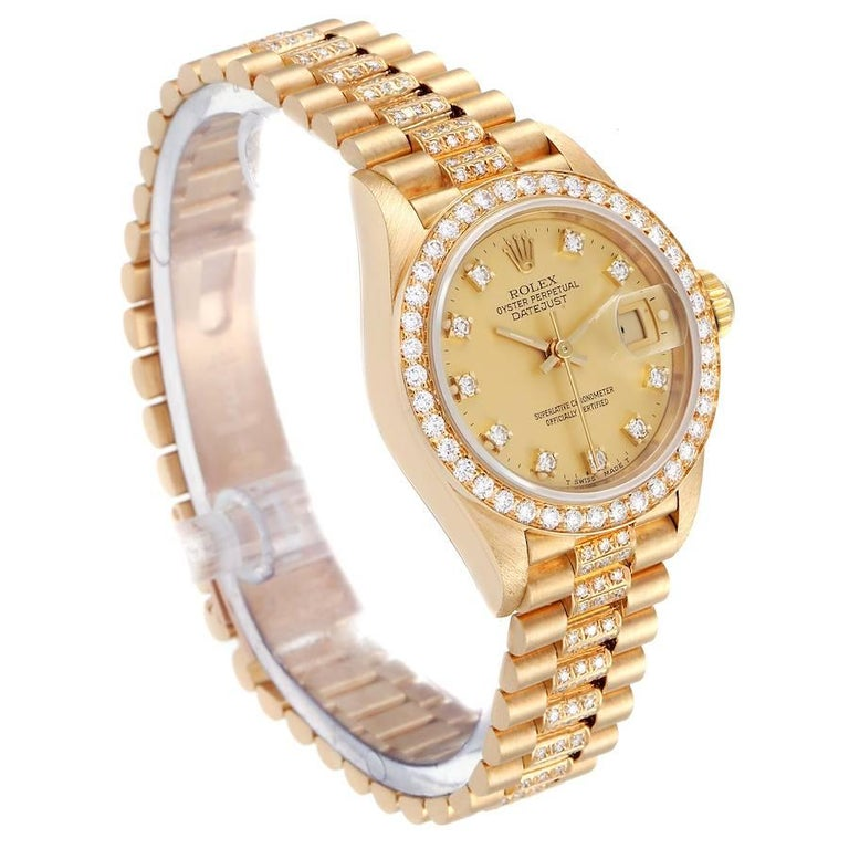Rolex President Datejust Yellow Gold Diamond Ladies Watch 69138 In Excellent Condition In Atlanta, GA