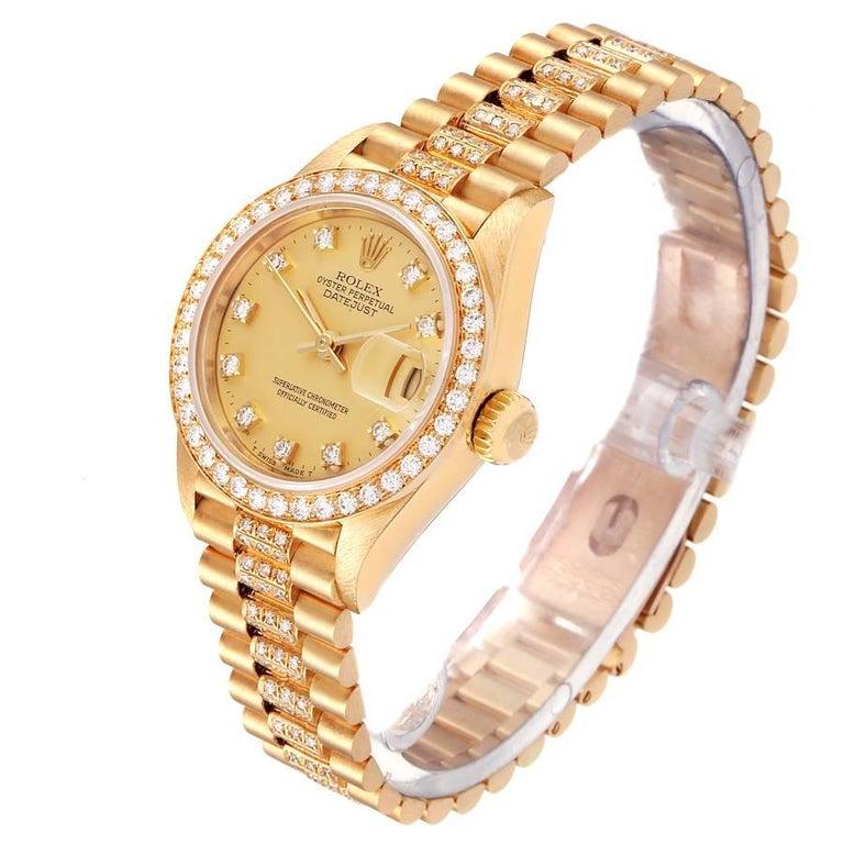 Women's Rolex President Datejust Yellow Gold Diamond Ladies Watch 69138