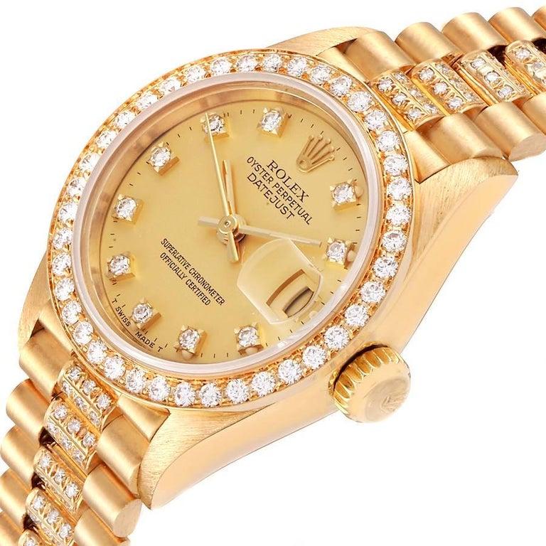 Rolex President Datejust Yellow Gold Diamond Ladies Watch 69138 1