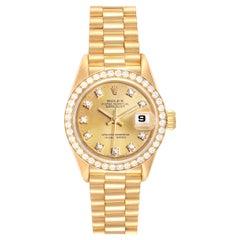 Rolex President Datejust Yellow Gold Diamond Ladies Watch 69138