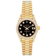 Rolex President Datejust Yellow Gold Diamond Ladies Watch 69158 Box Papers