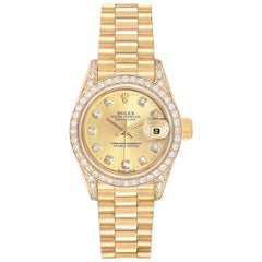 Rolex President Datejust Yellow Gold Diamond Ladies Watch 69158