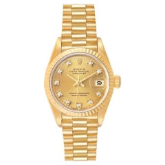 Rolex President Datejust Yellow Gold Diamond Ladies Watch 69178 Box