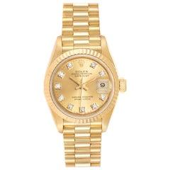 Rolex President Datejust Yellow Gold Diamond Ladies Watch 69178