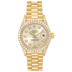 Rolex President Datejust Yellow Gold Diamond Ladies Watch 69238