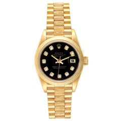 Rolex President Datejust Yellow Gold Diamond Ladies Watch 69278