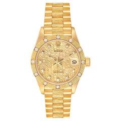 Rolex President Datejust Yellow Gold Diamond Ladies Watch 69288