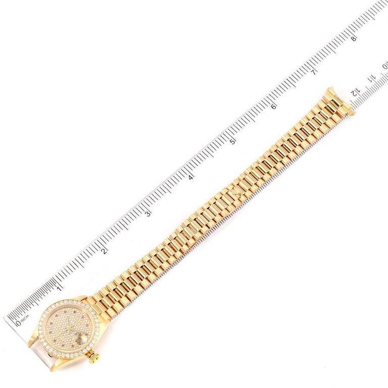 Rolex President Datejust Yellow Gold Diamond Rubies Ladies Watch 69138 For Sale 6