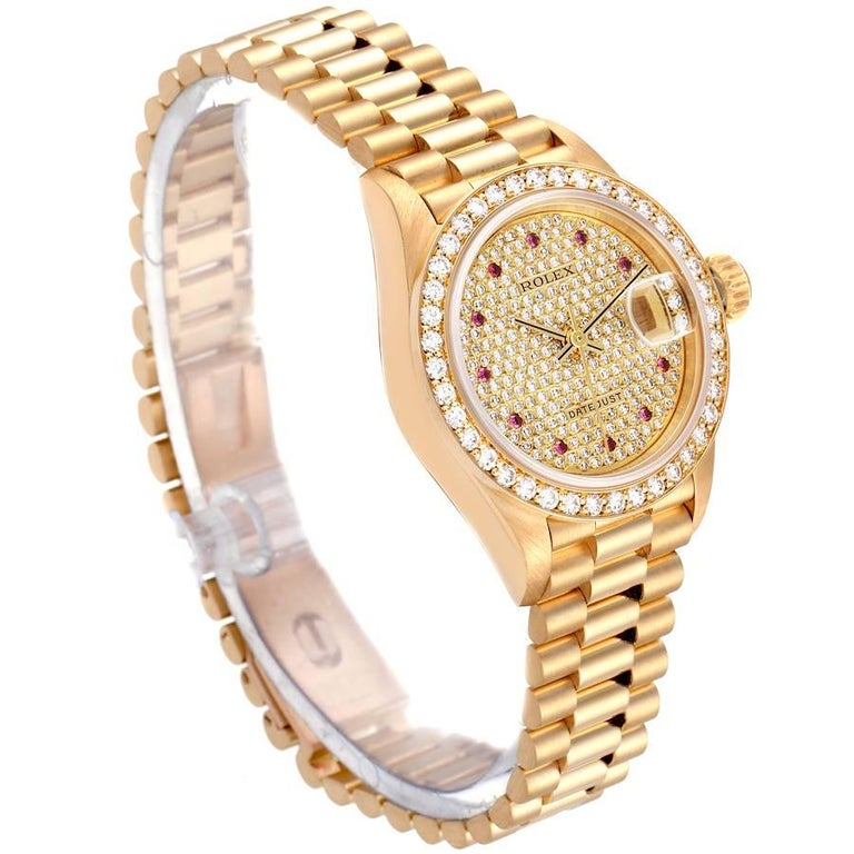 Rolex President Datejust Yellow Gold Diamond Rubies Ladies Watch 69138 In Excellent Condition For Sale In Atlanta, GA