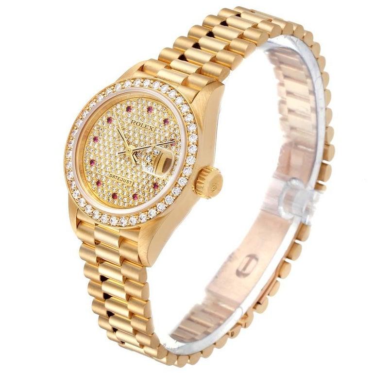 Women's Rolex President Datejust Yellow Gold Diamond Rubies Ladies Watch 69138 For Sale