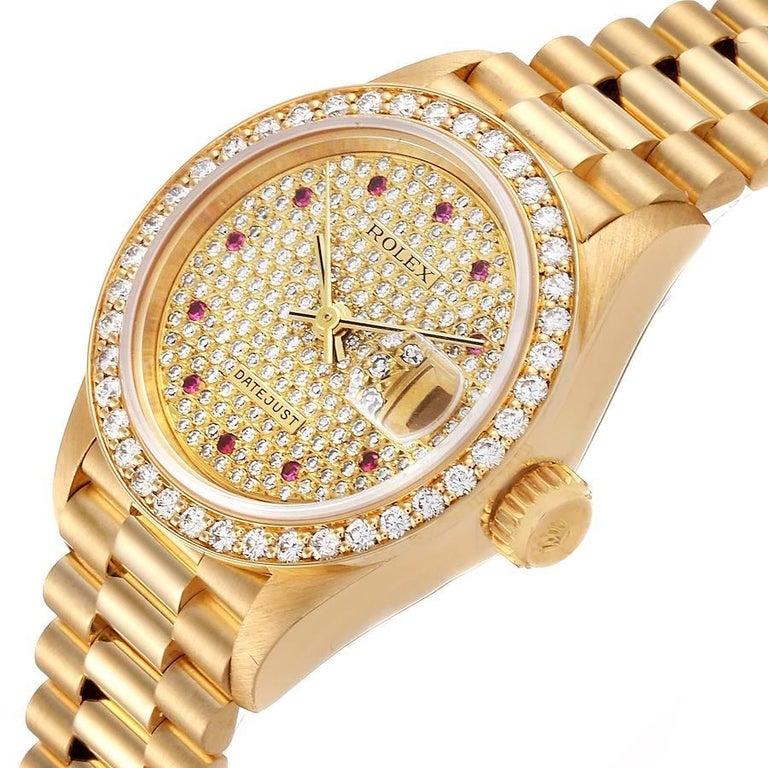 Rolex President Datejust Yellow Gold Diamond Rubies Ladies Watch 69138 For Sale 1