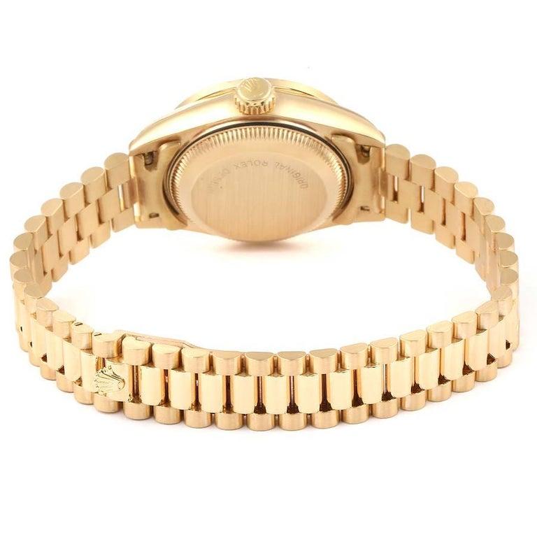 Rolex President Datejust Yellow Gold Diamond Rubies Ladies Watch 69138 For Sale 5