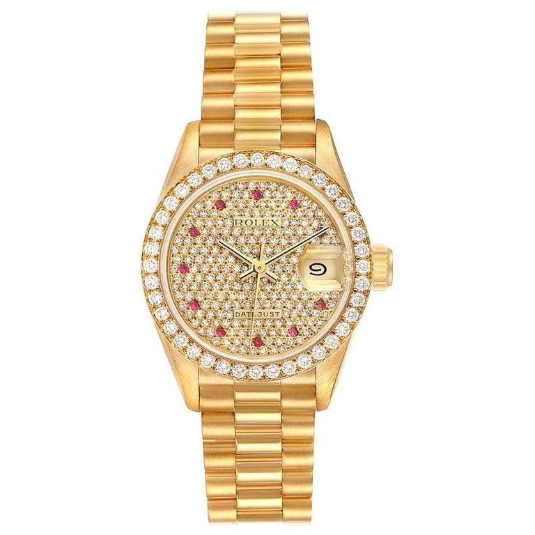Rolex President Datejust Yellow Gold Diamond Rubies Ladies Watch 69138 For Sale