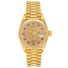 Rolex President Datejust Yellow Gold Diamond Rubies Ladies Watch 69178 Box