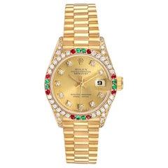 Rolex President Datejust Yellow Gold Diamond Ruby Emerald Watch 69038
