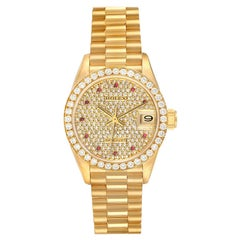 Rolex President Datejust Yellow Gold Diamond Ruby Ladies Watch 69138