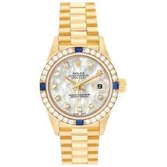 Rolex President Datejust Yellow Gold Diamond Sapphire Ladies Watch 69088