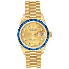 Rolex President Datejust Yellow Gold Diamond Sapphire Ladies Watch 69118