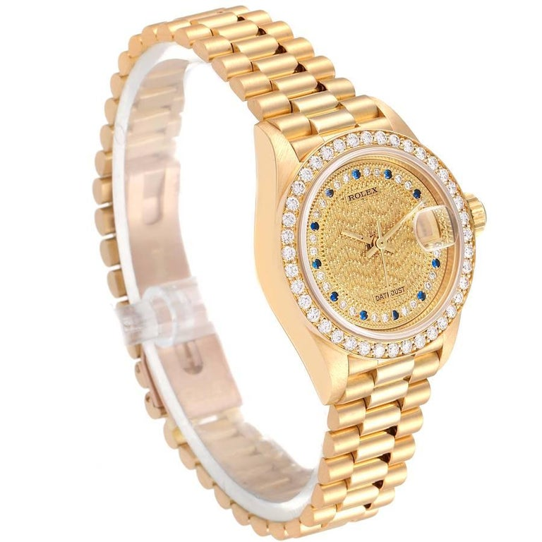 Rolex President Datejust Yellow Gold Diamond Sapphires Ladies Watch 69138 In Excellent Condition In Atlanta, GA