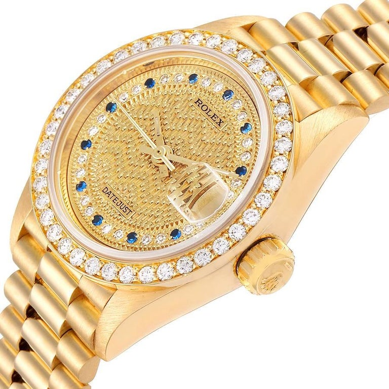 Rolex President Datejust Yellow Gold Diamond Sapphires Ladies Watch 69138 1