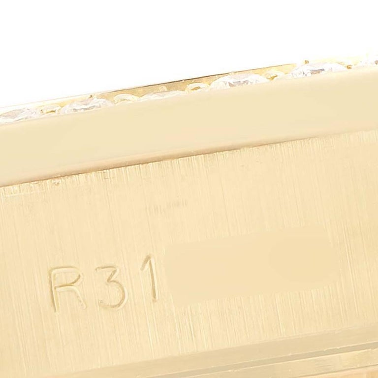 Rolex President Datejust Yellow Gold Diamond Sapphires Ladies Watch 69138 2