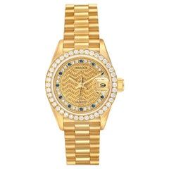 Rolex President Datejust Yellow Gold Diamond Sapphires Ladies Watch 69138