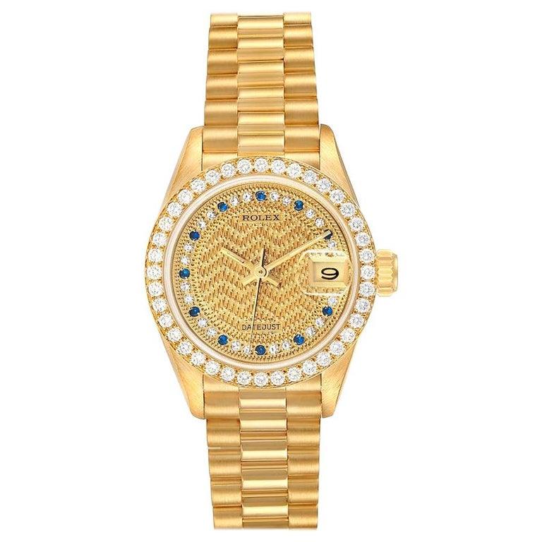 Rolex President Datejust Yellow Gold Diamond Sapphires Ladies Watch 69138