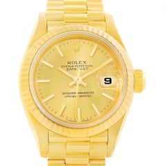 Rolex President Datejust Yellow Gold Fluted Bezel Ladies Watch 69178