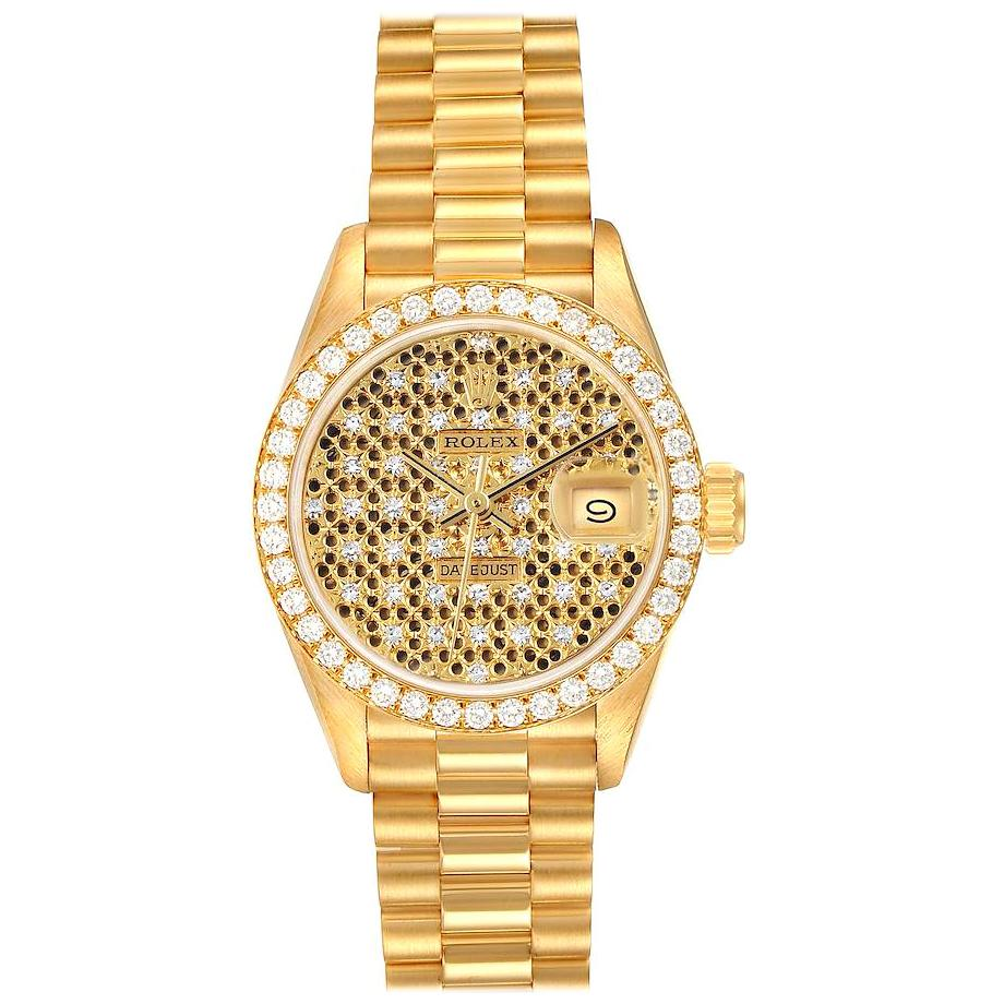 Rolex President Datejust Yellow Gold Honeycomb Diamond Watch 69138 Box Papers