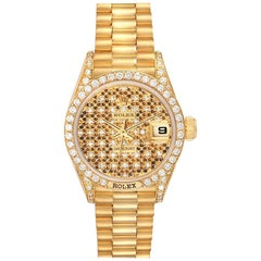 Rolex President Datejust Yellow Gold Honeycomb Diamond Watch 69158