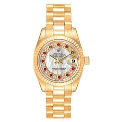Rolex President Datejust Yellow Gold MOP Myriad Diamond Rubies Watch 179178 Box