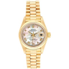 Rolex President Datejust Yellow Gold Mother of Pearl Ladies Watch 69178