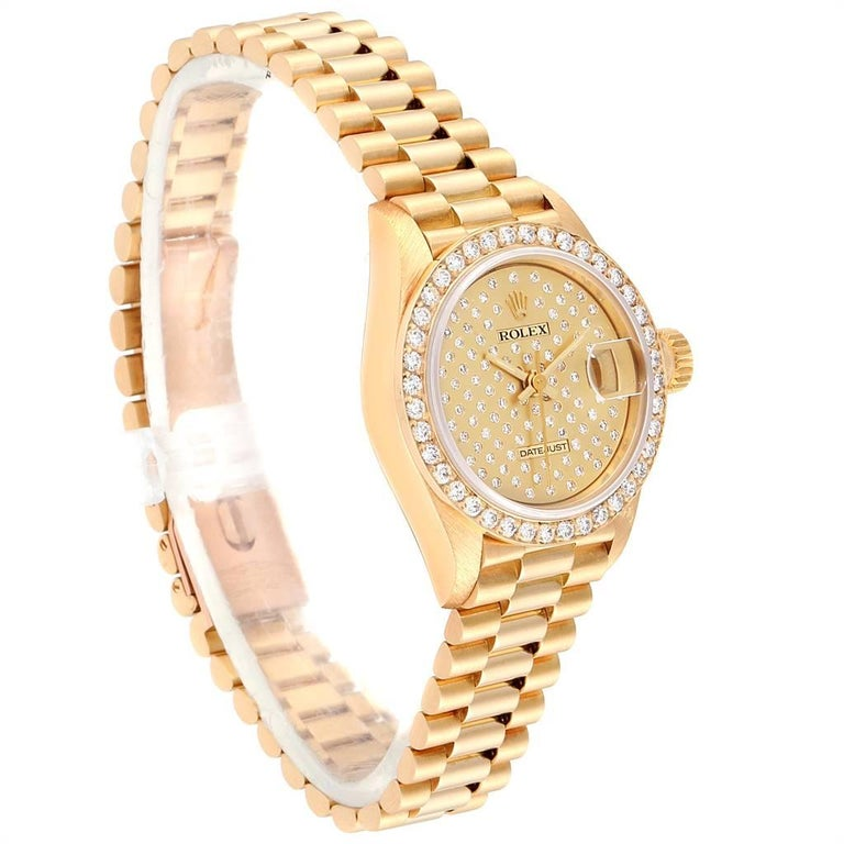 Rolex President Datejust Yellow Gold Pave Diamond Ladies Watch 69138 In Excellent Condition For Sale In Atlanta, GA