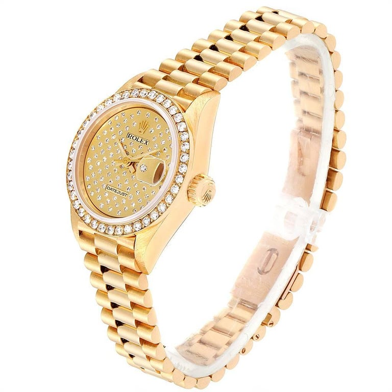 Women's Rolex President Datejust Yellow Gold Pave Diamond Ladies Watch 69138 For Sale