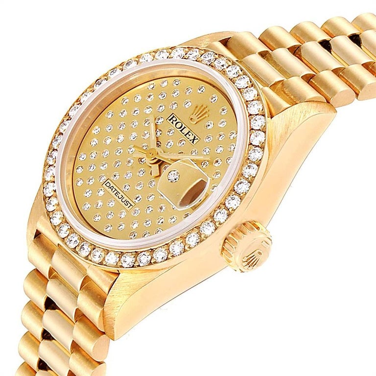 Rolex President Datejust Yellow Gold Pave Diamond Ladies Watch 69138 For Sale 1