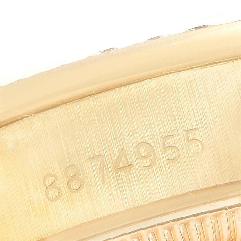 Rolex President Datejust Yellow Gold Pave Diamond Ladies Watch 69138 For Sale 2