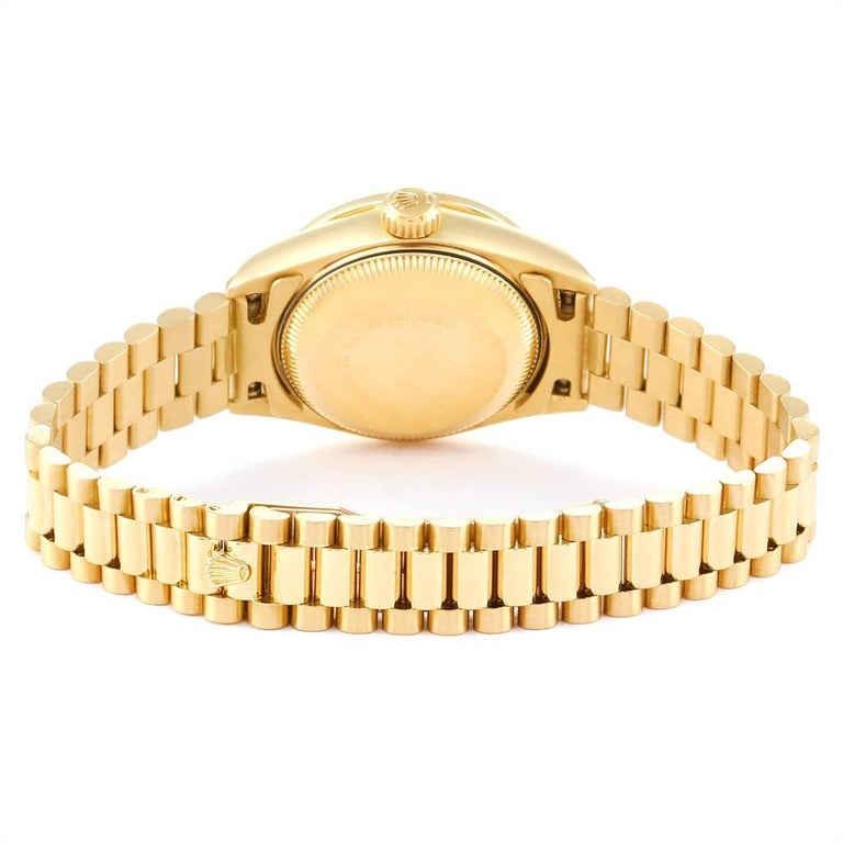Rolex President Datejust Yellow Gold Pave Diamond Ladies Watch 69138 For Sale 4