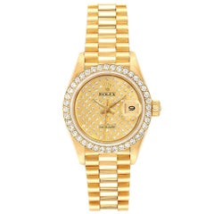 Rolex President Datejust Yellow Gold Pave Diamond Ladies Watch 69138