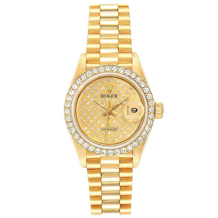 Rolex President Datejust Yellow Gold Pave Diamond Ladies Watch 69138 For Sale