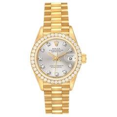 Rolex President Datejust Yellow Gold Silver Diamond Dial Ladies Watch 69138