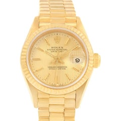 Rolex President Datejust Yellow Gold Tapestry Dial Ladies Watch 69178
