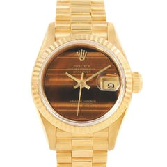 Rolex President Datejust Yellow Gold Tiger Eye Dial Ladies Watch 69178