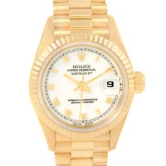 Rolex President Datejust Yellow Gold White Roman Dial Ladies Watch 69178